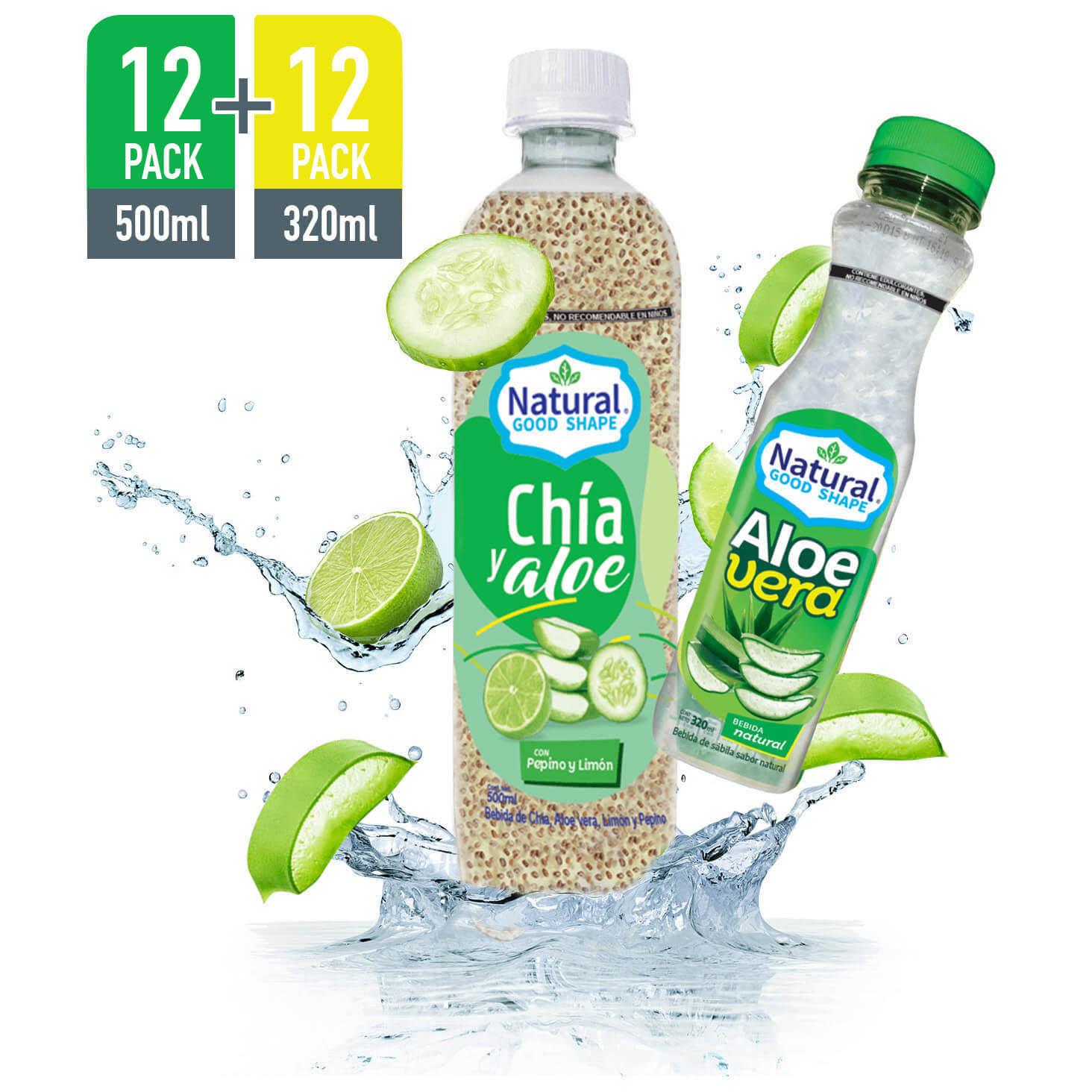 Bebida de Aloe 320 ml más Bebida de Aloe con Chía Limón. 500 ml